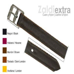 Acion Estribo Zaldi Extra Cuero/nylon Negro